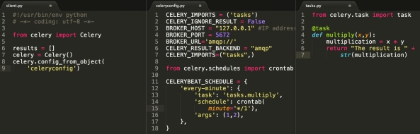 The example celery code